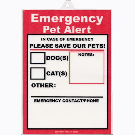 Emergency Pet Alert Signs