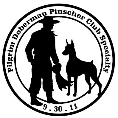 Pilgrim Doberman Pinscher Club 2011 Specialty Show logo - Style: graphic, black & white