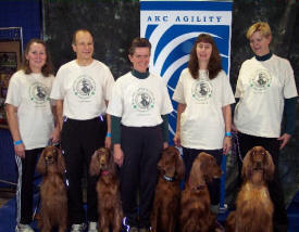 2010 AKC Agility Invitational.  The Irish Setter team in Long Beach wearing an adaption of the original agility illustration.  The text was changed for this very special occasion.