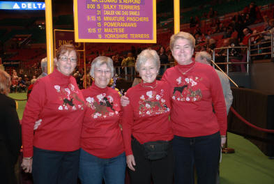 Good friends in argostar SPECIAL VALENTINES DAY hand-painted shirts are enjoying the westminster kennel club in 2011.  Fun!