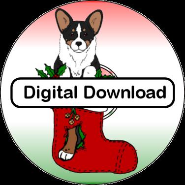 cardigan welsh corgi christmas clip art digital download - Corgi Christmas
