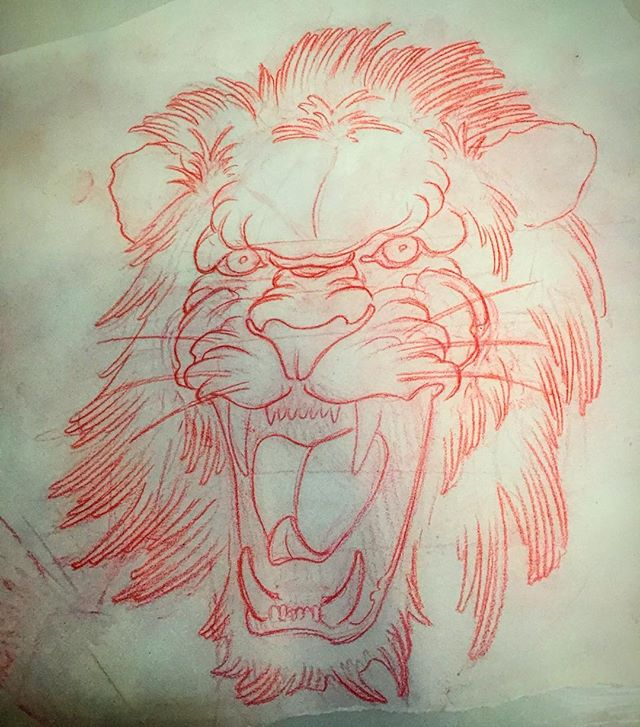 I drew this lion for a fella a month or two ago and he didn't get it. Who wants it? #tattoo #artcore #hislossyourgain #redsketch
