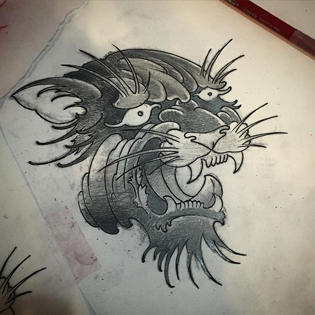 I got this panther head up for grabs and I've got this Saturday at noon or 4pm open. Let's make this happen! #pantherhead #tattoo #artcore