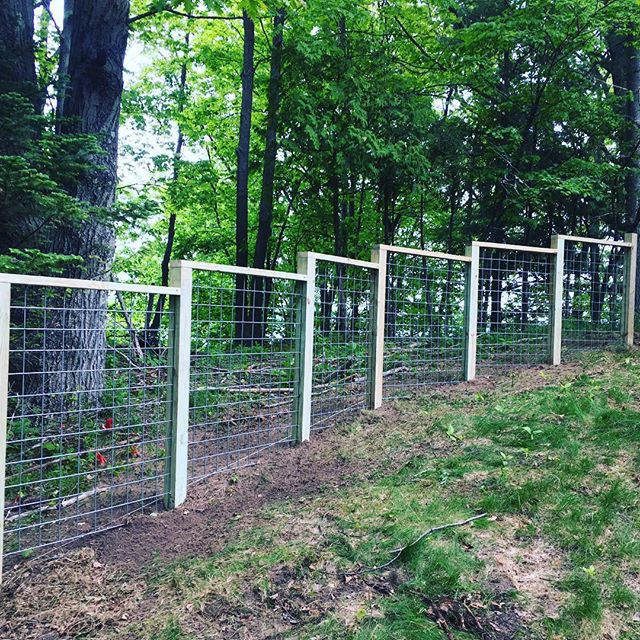 Got a start on the hog wire fence project in #frankfortmichigan today. #fence #hogwirefence #build #keepcraftalive