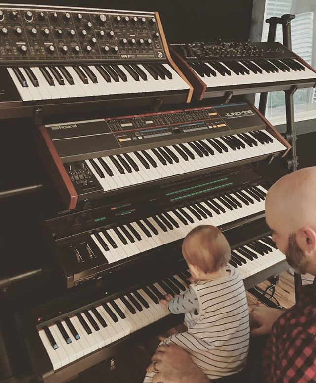 Someone wanted to play keys with Daddy tonight instead of go night night.