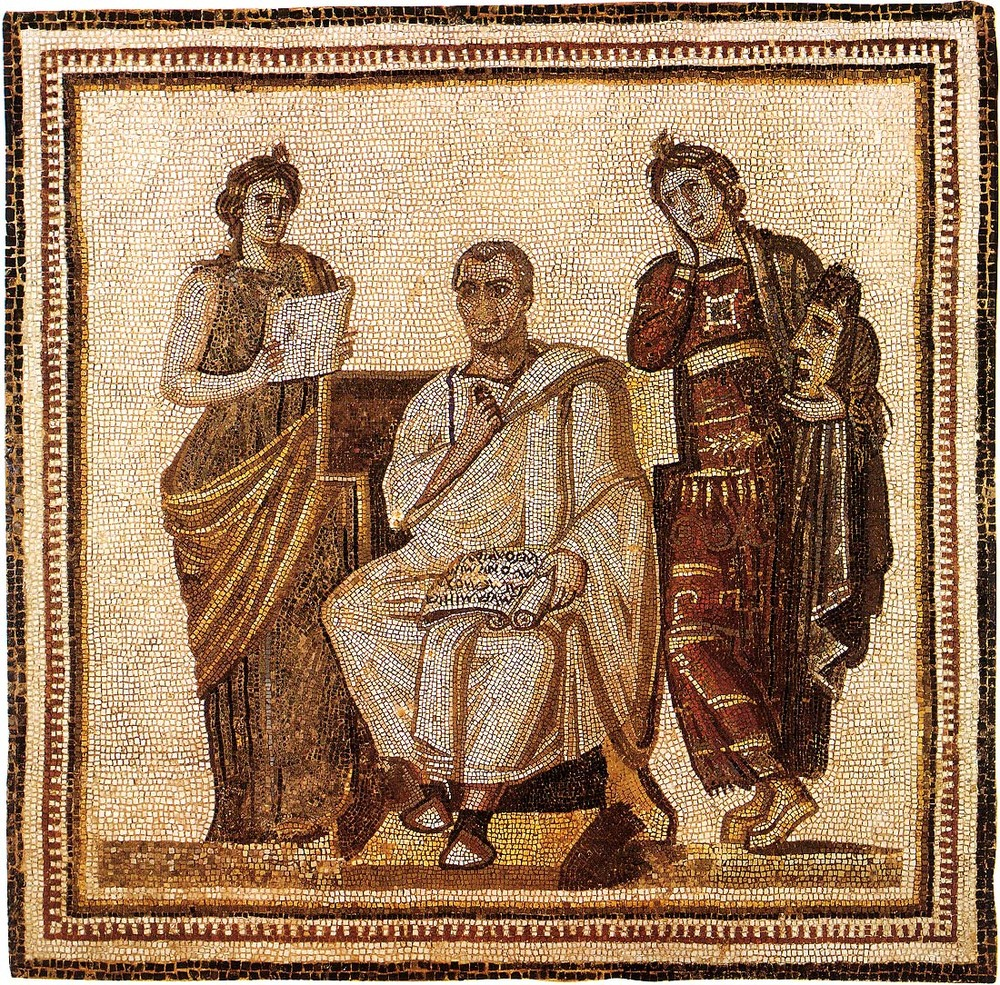 The poet Virgil composing Aeneid and two muses