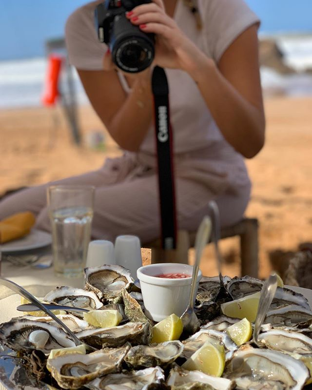 Double purified oysters on a private beach in Oualidia, Morocco.