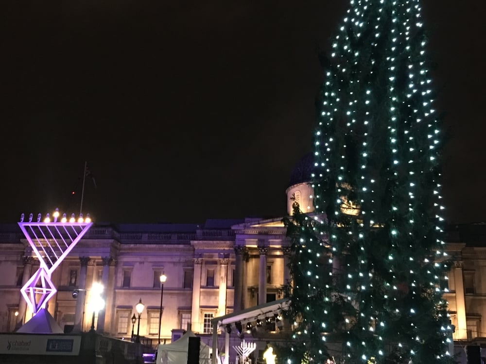 Menorah and Christmas tree (tree given annually by Norway in appreciation for World War II) in Trafalgar Square