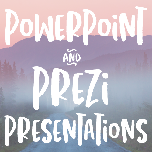 PowerPoint and Prezi Presentation Decks  (content, design)