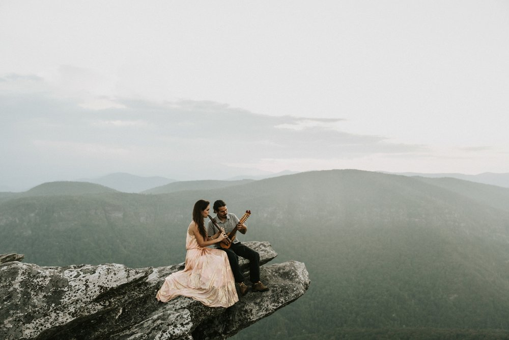 asheville north carolina destination wedding photographer foxhouse studio captures mountaintop engagement session near asheville north carolina