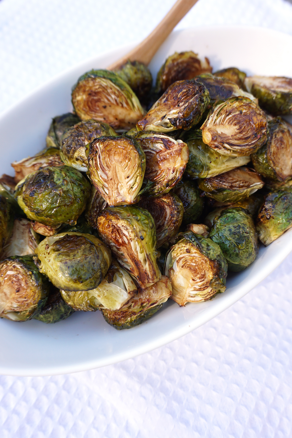 Crispy Balsamic Roasted Brussels Sprouts with Honey