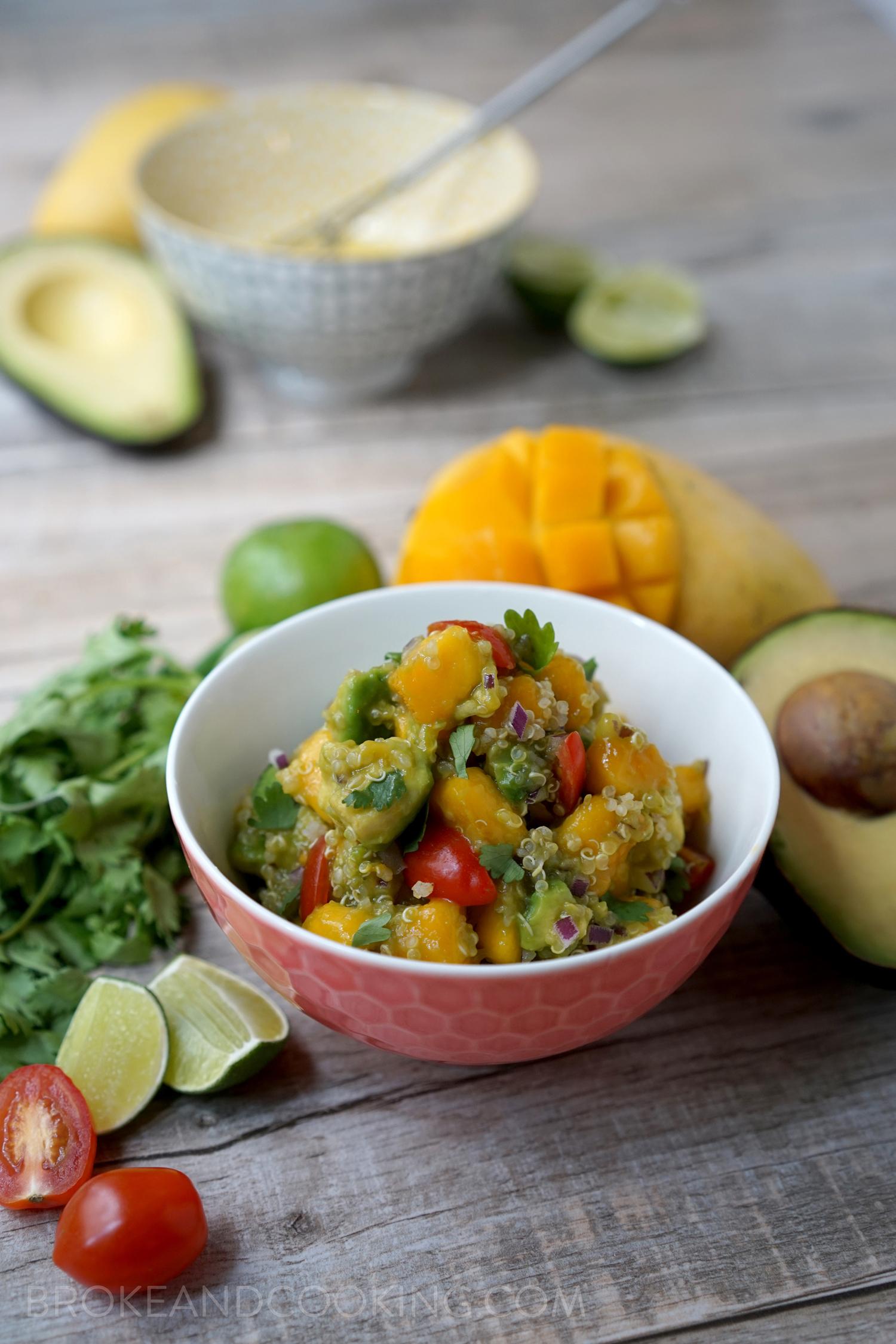 Mango Avocado Quinoa Salad With Lime Vinaigrette Broke And Cooking