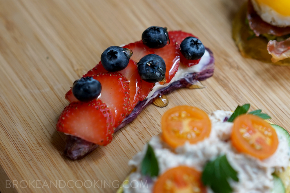 Sweet Potato Toast with Cream Cheese and Fresh Fruit