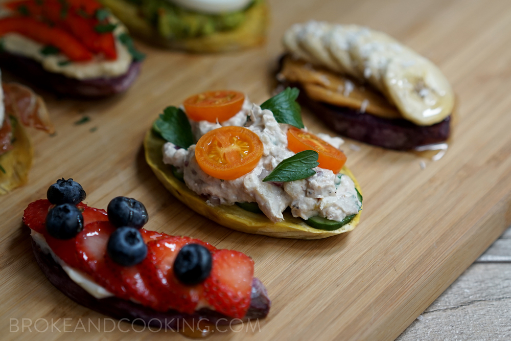 Sweet Potato Toast with Cucumber Slices, Chicken Salad, Tomatoes, and Parsley