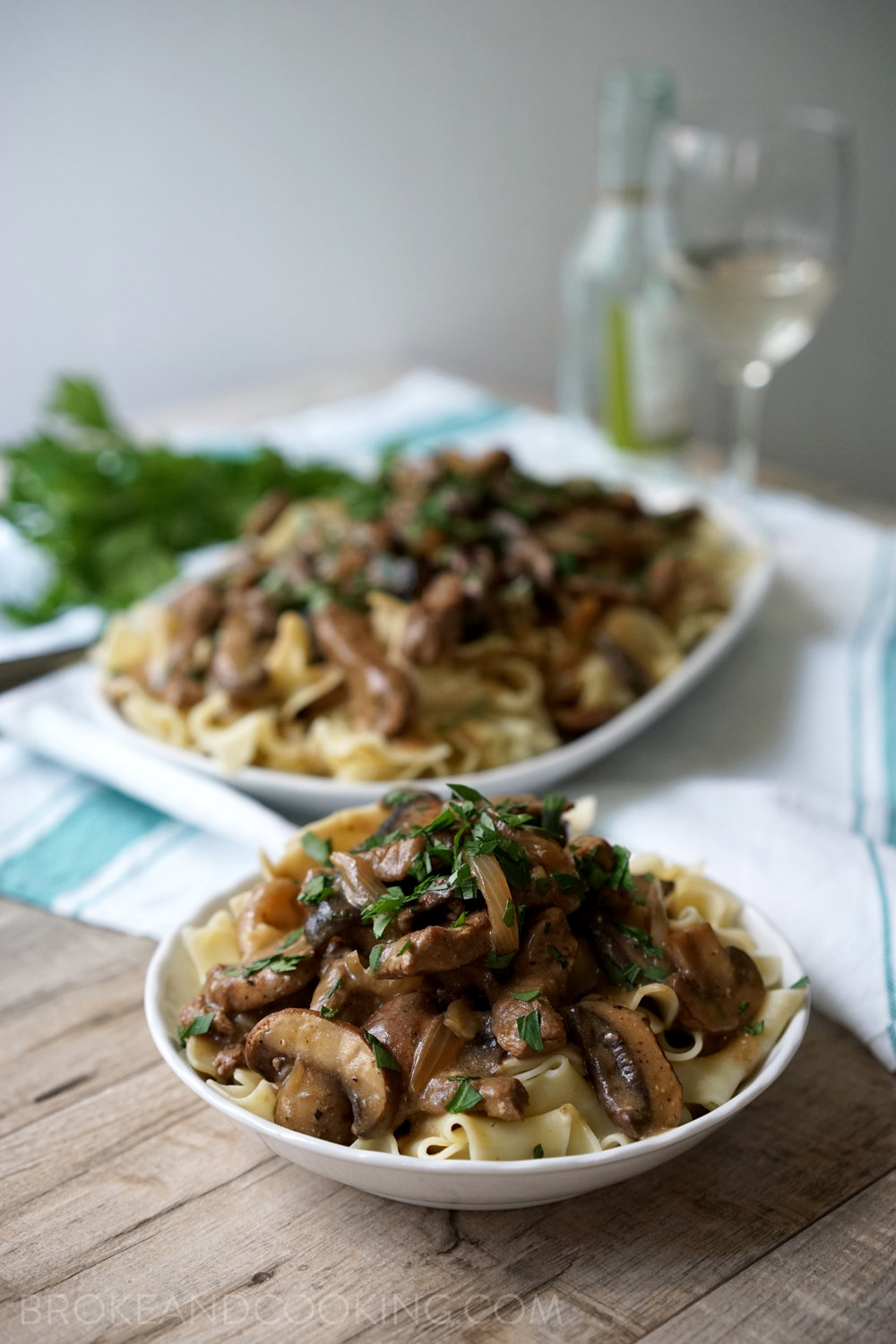 Skinny Beef Stroganoff Recipe by Broke and Cooking - www.brokeandcooking.com