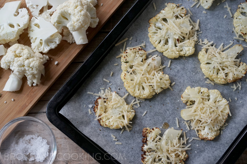 Parmesan Roasted Cauliflower Crisps Recipe by Broke and Cooking - www.brokeandcooking.com
