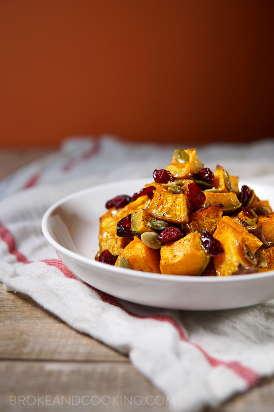 Holiday Roasted Pumpkin with Cranberries Recipe by Broke and Cooking - www.brokeandcooking.com