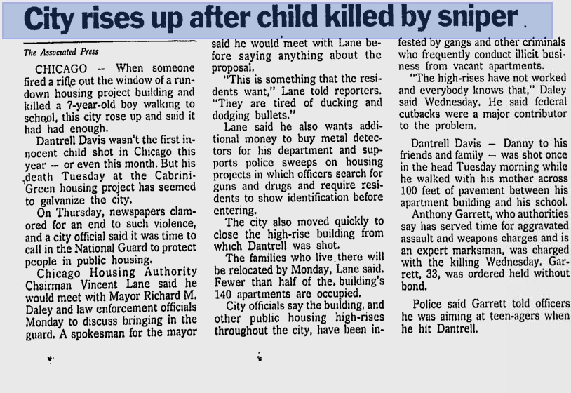 The Times-News:  City rises up after child killed by sniper  (October 16th, 1992)