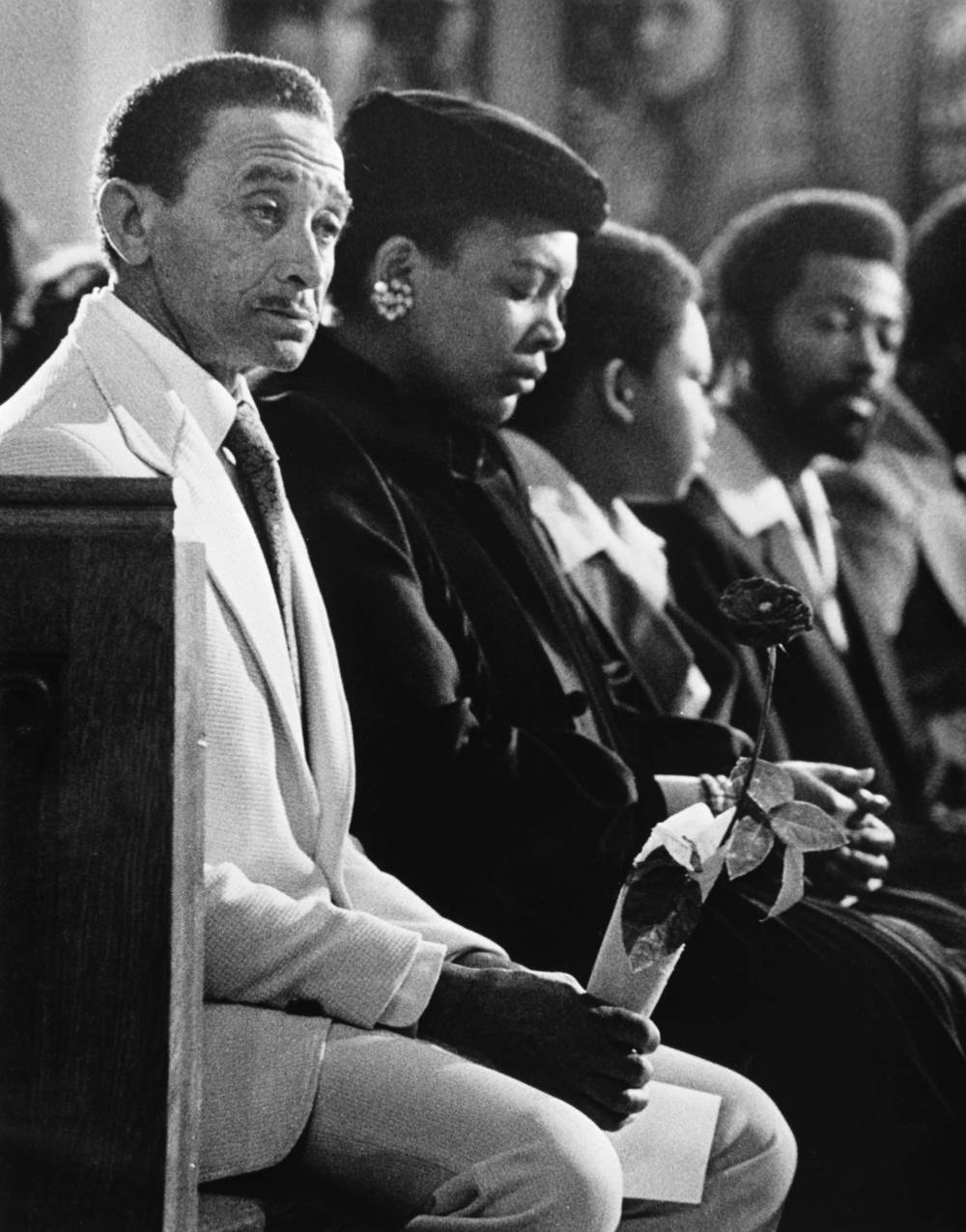 Father of murder victim Patrick Baltzar at the funeral service.  Photograph by George Clark (1981) Atlanta Journal-Constitution Photographic Archives. Special Collections and Archives, Georgia State University Library.