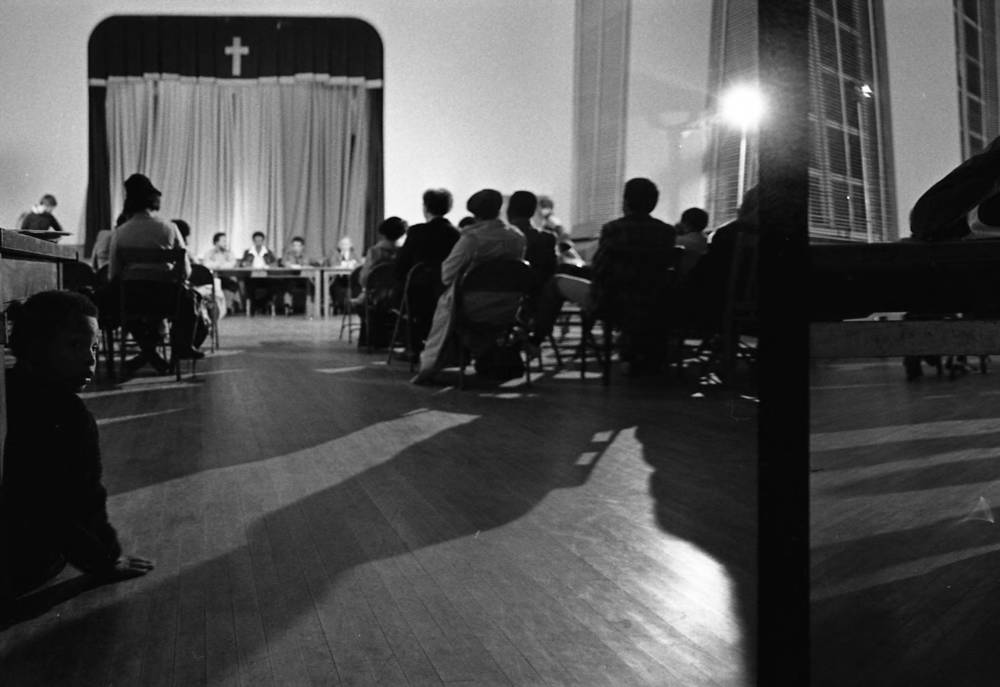 NAACP meeting to discuss missing and murdered children at Wheat Street Baptist Church. Photograph by Louie Favorite (1980) Atlanta Journal-Constitution Photographic Archives. Special Collections and Archives, Georgia State University Library.