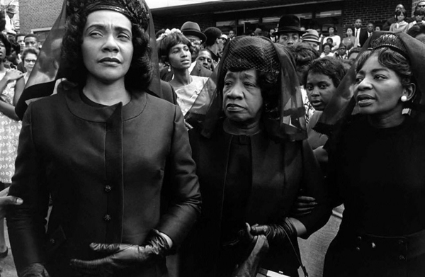 Leaving church after the funeral of Martin Luther King, Jr. Coretta Scott King, Alberta Williams King, King's mother, and Christine Farras, King's sister. Photograph by Bob Fitch.