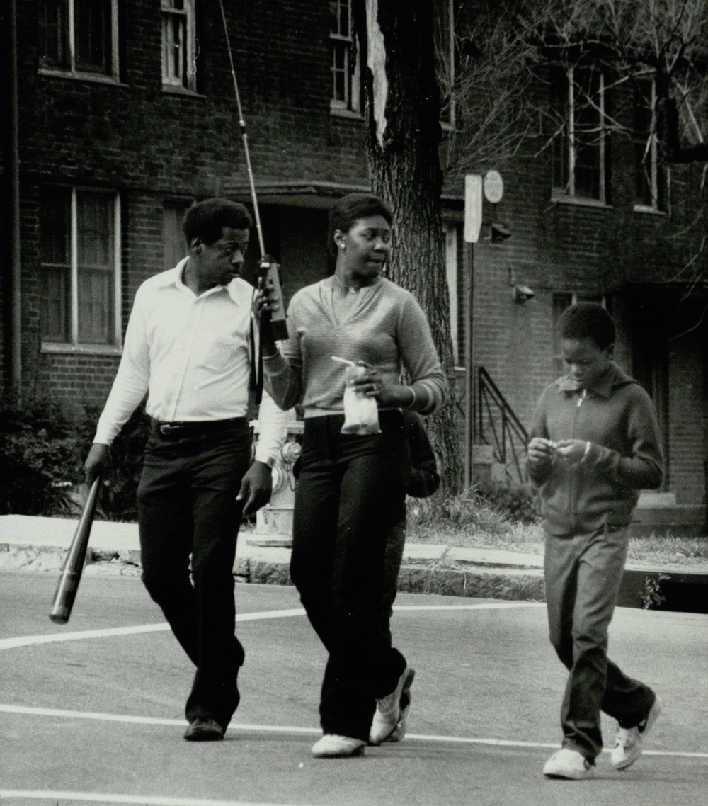 Techwood Homes Family Patrol.  Photograph byGeorge A. Clark (1984) Atlanta Journal-Constitution Photographic Archives. Special Collections and Archives, Georgia State University Library.