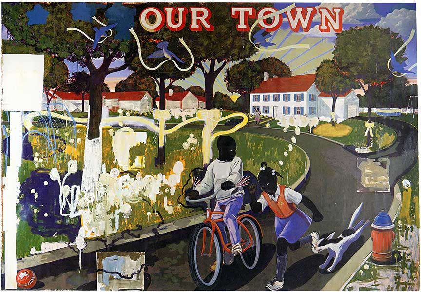 Our Town  Acrylic and collage on unstretched canvas, 100 x 124 inches (1995)
