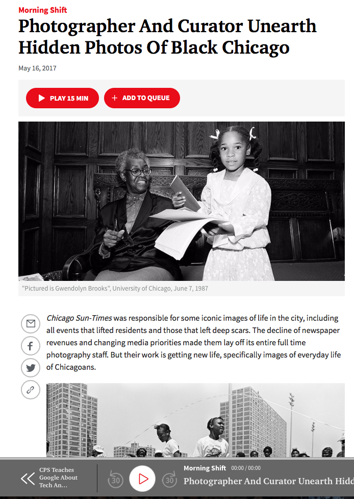 A recent interview with Renata Cherlise of Blvck Vrchives and her collaboration with Danielle A. Scruggs, Director of Photography at the Reader, in conversation with NPR's sister station in Chicago - WBEZ