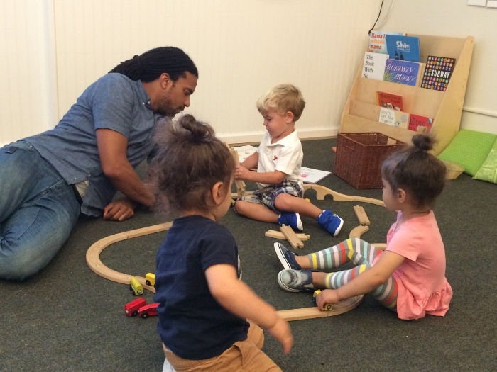 Playing with trains, afternoon Twos class