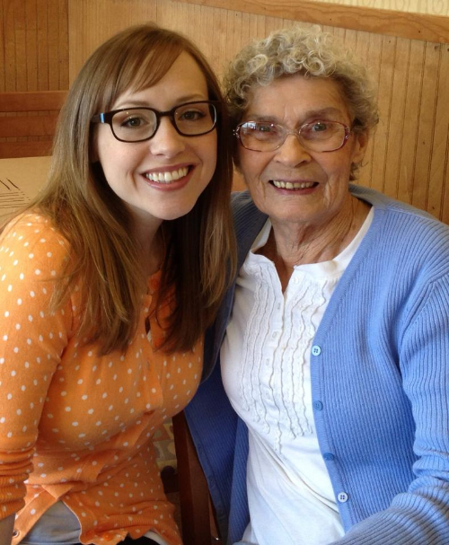 Grandma and me catching up over black coffee in 2013.