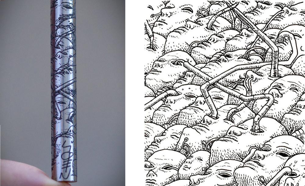 BLANK FORCES - EDC Ink Pen - LIQEN Cabezas original artwork