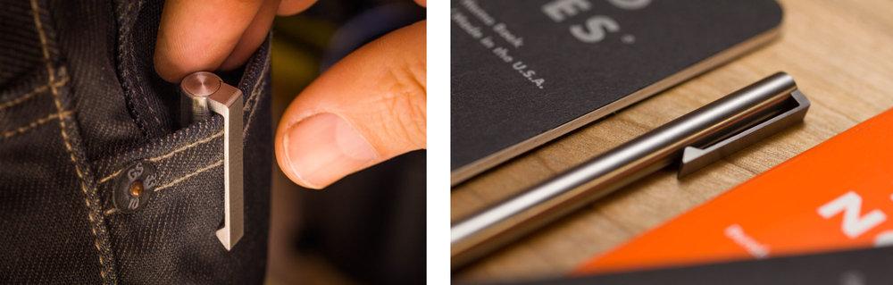 V2 - Titanium EDC Ink - CLIP version in action
