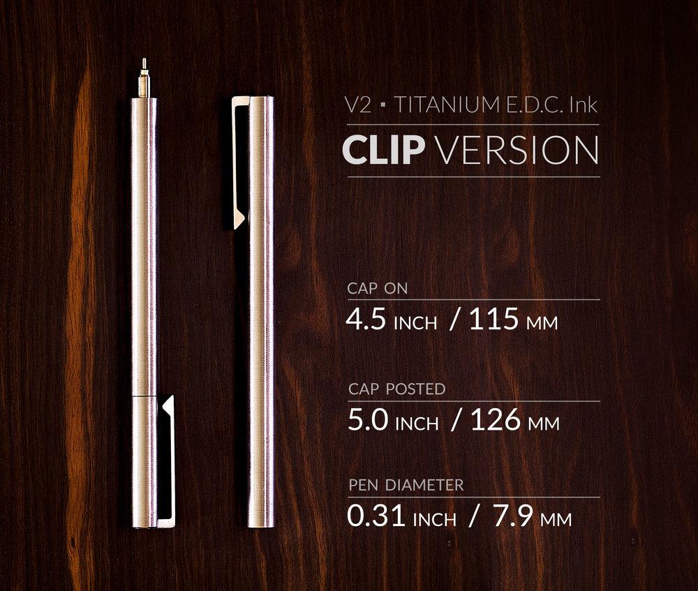 V2 - Titanium EDC Ink - CLIP version Dimensions