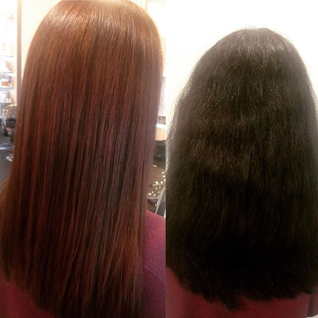 Clients hair in progress, taking out the black box hair dye, next week Balayage...time for change. Keeping hair healthy with Keratin #vitalshotstreatment.  http://bellabella-salon.com