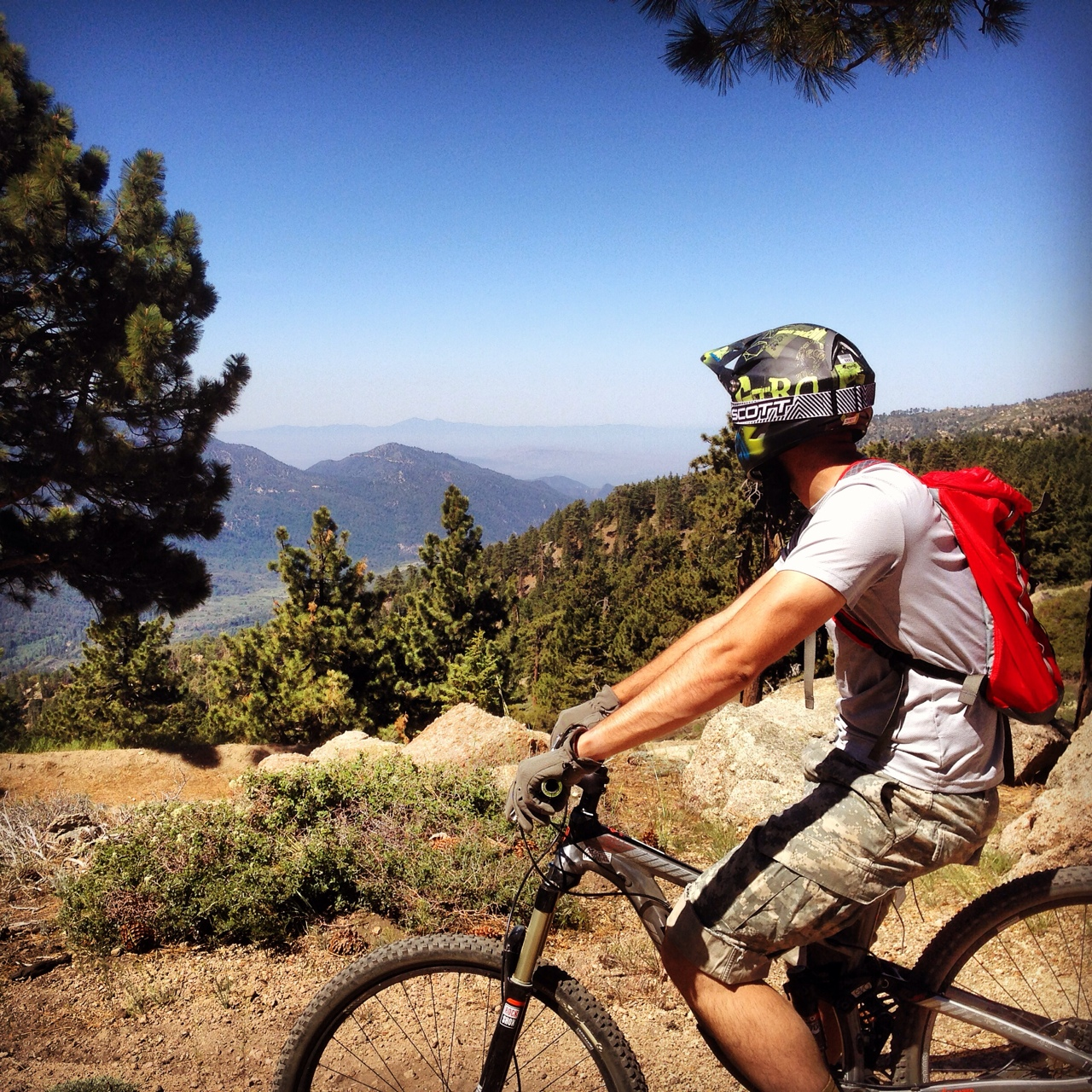 Spent all day MT biking around Big Bear, CA. Cross country and down hill. Damn Im smoked! (That's me!)