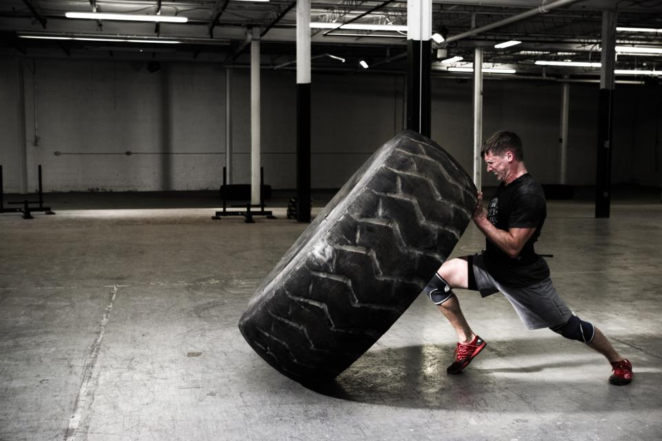 10rounds of 10 reps Pull ups Push ups Tire flips 23:19  Followed by tabata push ups and crunches