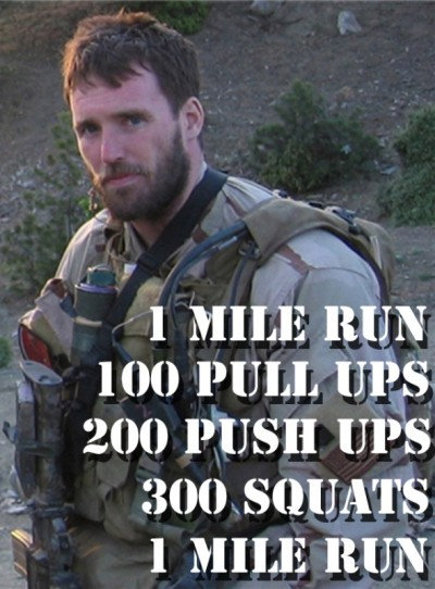 Murph!l Run 1 mile 100 pull ups 200 push ups 300 squats Run 1 mile 53 min  5rds 500m row 15 165lb bench press 24:45