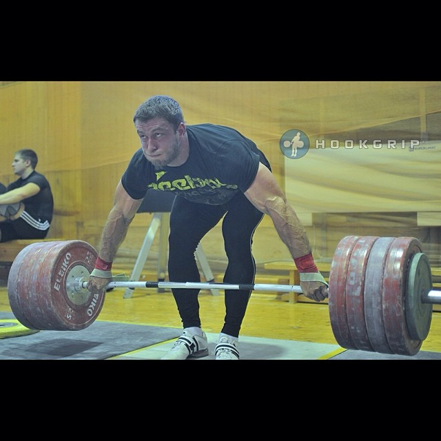 hookgripcom :     @klokovd with a 240kg snatch grip deadlift at the Chekhov training base about 90 minutes south of Moscow     Morning: Barbara 5 rds 20 pull ups 30 push ups 40 sit ups 50 squats 3 min rest between each round  Lunch: 10 min amrap 30 double unders 15 105 snatches 3 rds plus 4 double unders