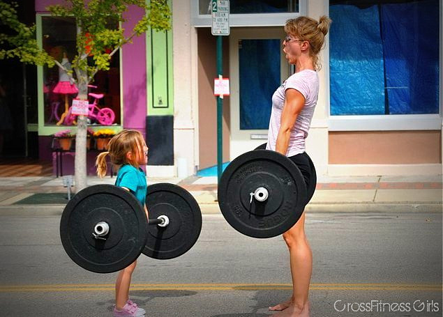 girlgrowingsmall :      crossfitnessgirls :     Kara and daughter     This is gonna be me and my daughter.      20min amrap 10 225lb dead lift 10 50lb kettlebell snatch each arm 25 double unders  5 rds + 6 deadlifts