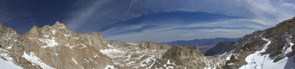 "View looking back from the ""99 Switchbacks"" on the Mt Whitney Trail. Trail Camp sits somewhere below."