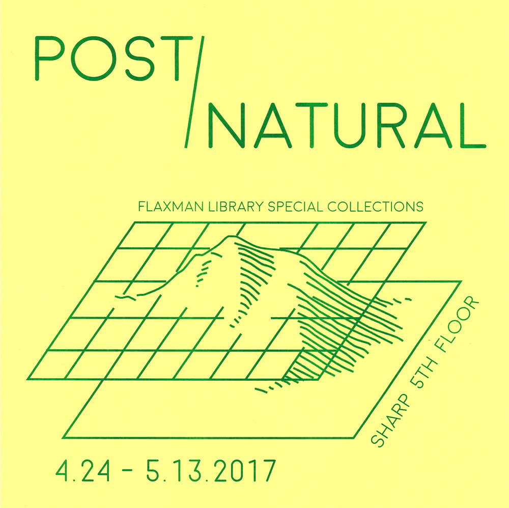 "Post/Natural: Artists' Publishing and the Anthropocene Through an exhibition, satellite library, and series of events, Post/Natural explores how artists are approaching the Anthropocene, post-natural landscapes, ecology, environmental activism, and disruptions of the binary between ""nature"" and ""culture."" Because the Anthropocene is a topic that traverses the sciences, humanities, and most recently visual arts, Post/Natural takes artists' publications as a focus point to ask what kinds of dialogue might develop from bridging scholarly and aesthetic modes of production. Like Laboria Cubonix in their Xenofeminist Manifesto, Post/Natural seeks to chip away at the concept of ""Nature as an un-remarkable given,"" investigating different Nature-Cultures, how they are constructed and what happens when they collide. For a list of artists and documentation click here."