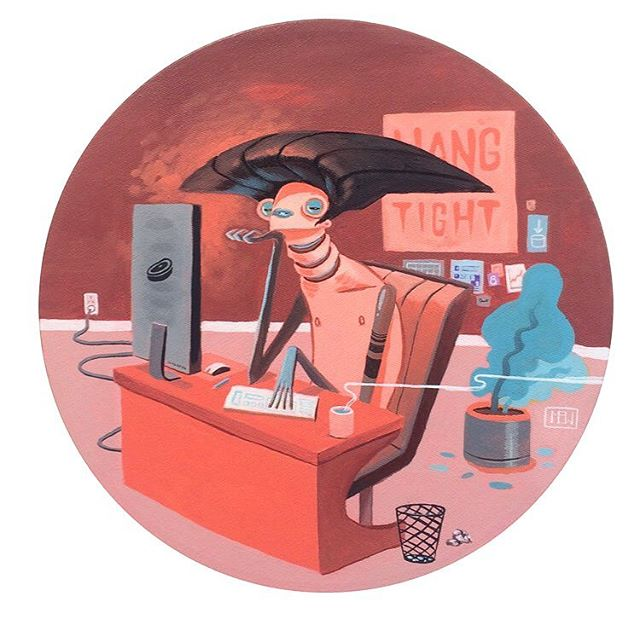Here's one of my latest paintings in a series about drudgery called 'Hang Tight: Open Plan Office'. #openplan #interiordesign #guyswithiphones #antigravityhair #drudgery
