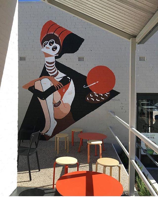 Repost from @arcadia.designstudio of my latest mural on William Street, Northbridge for @cometpizza 💫🍕