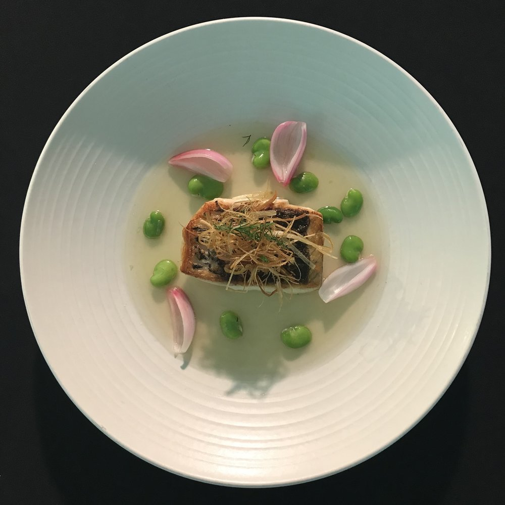 Barramundi & smoky ham broth