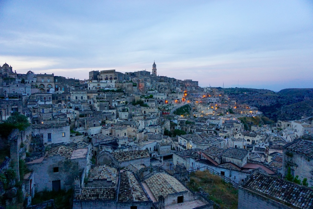 matera - sunset view of the sassi district caveoso