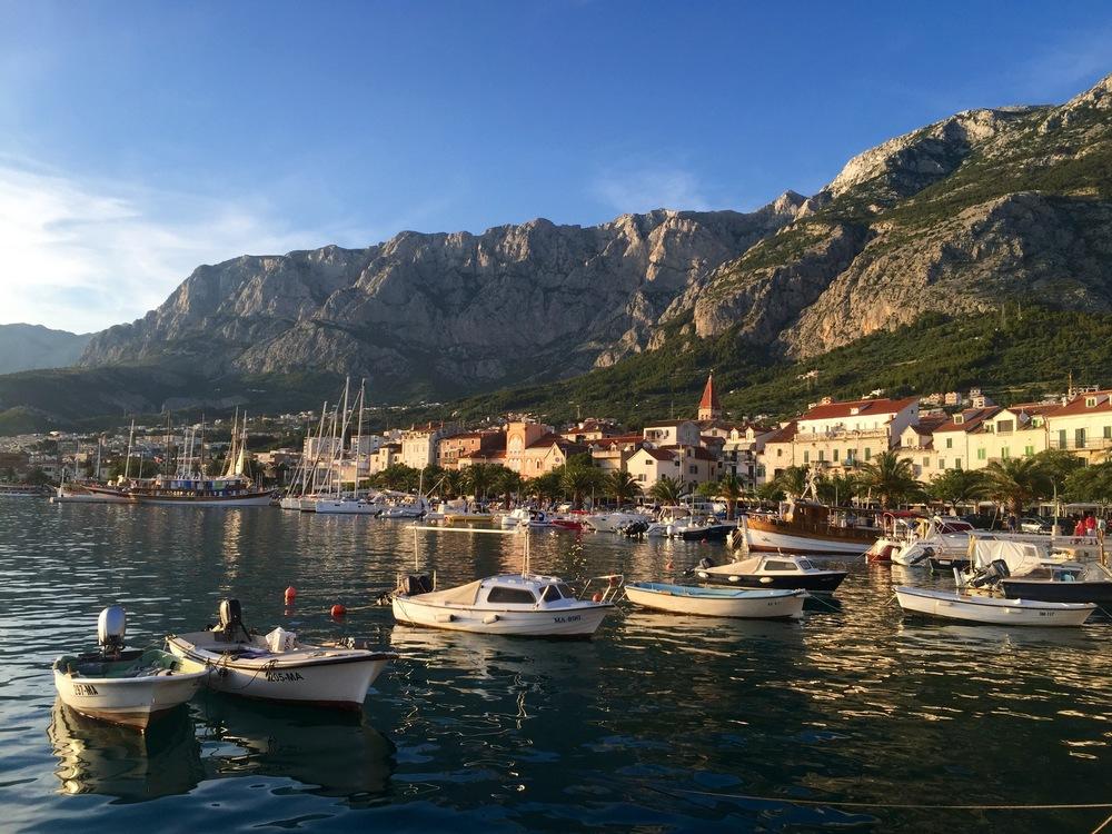 Makarska - The view of Makarska with the Biokovo Mountain Range as the backdrop