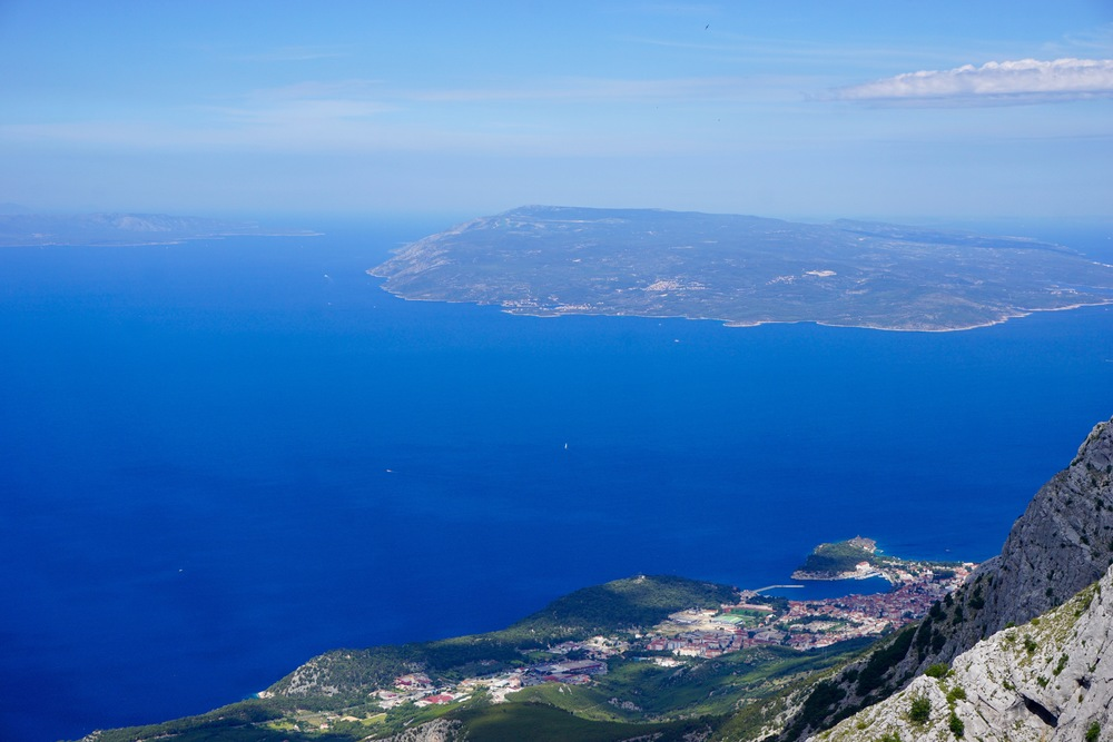 Makarska - The view from the road through Biokovo of Makarska and the island of Brac
