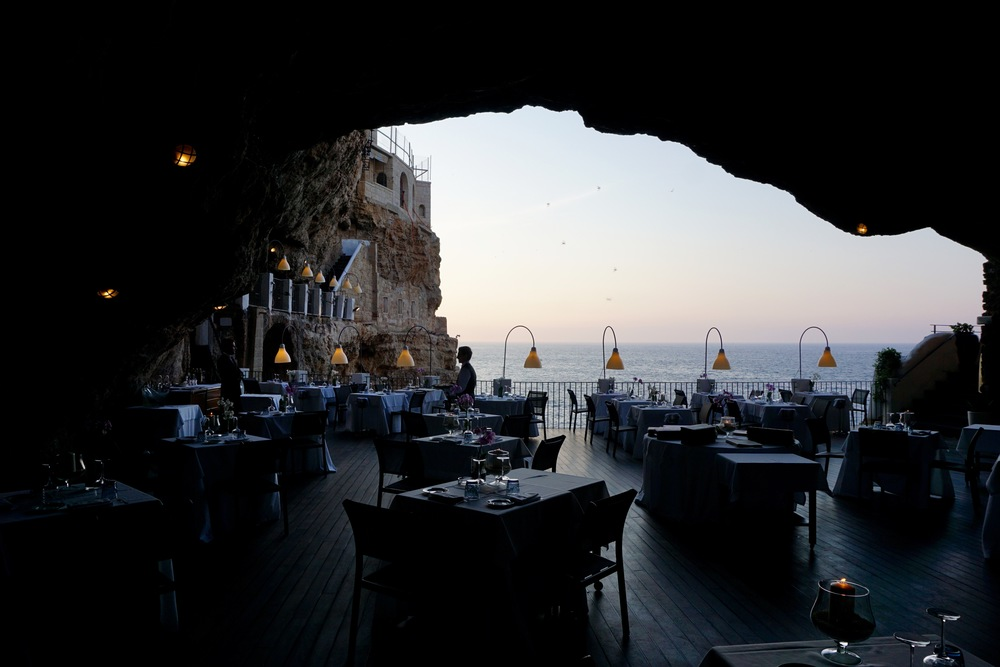 The view from Inside Ristorante Grotta Palazzese