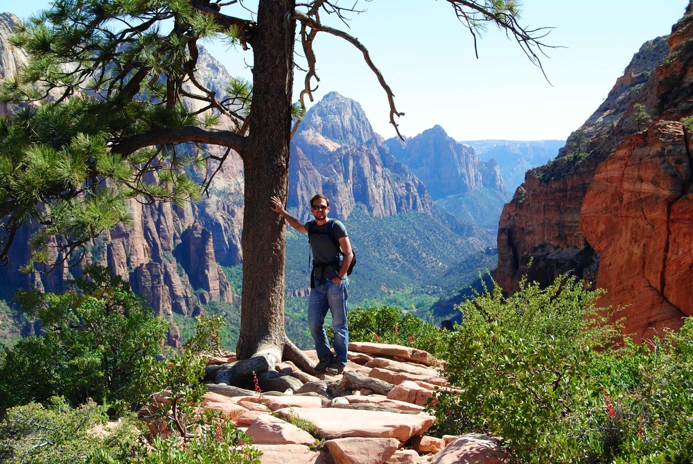 Zion National Park - The View of the Valley close to the top of angels landing