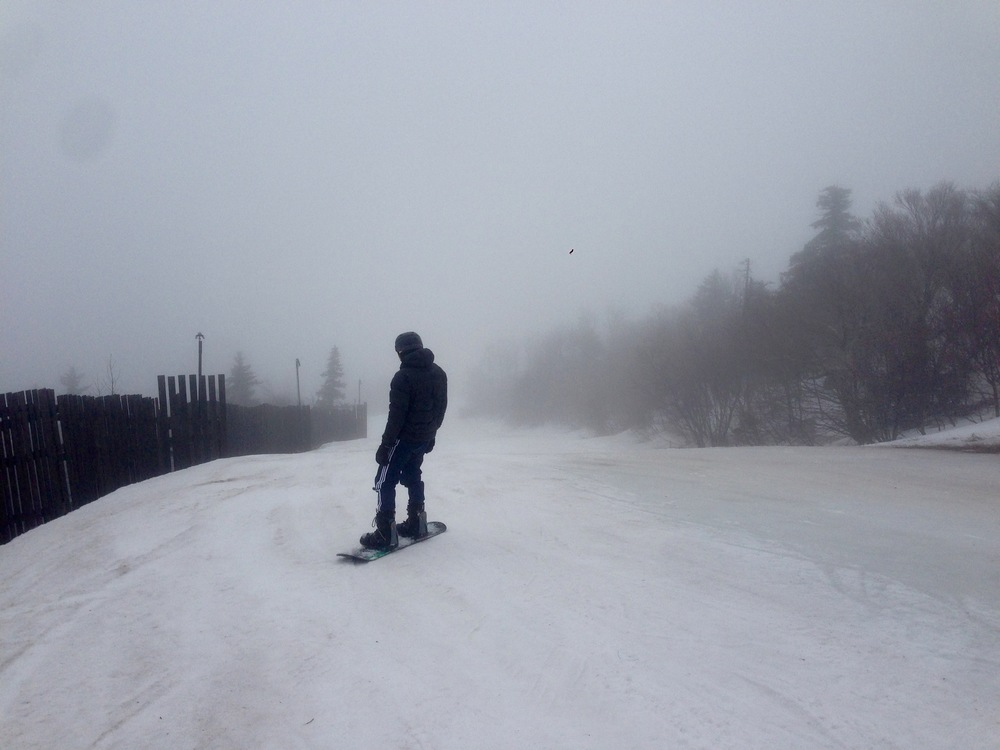 Snowboarding at Windham, Upstate New York.